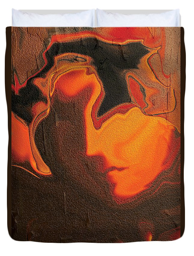 Abstract Duvet Cover featuring the digital art The Face 2 by Rabi Khan