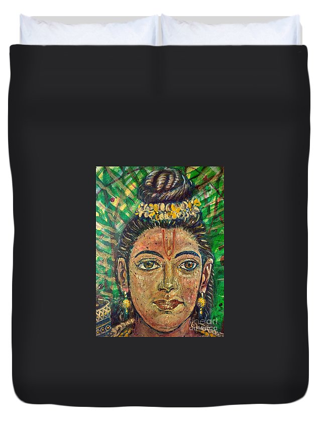 Rama Duvet Cover featuring the digital art The Face Of Rama by Michael African Visions