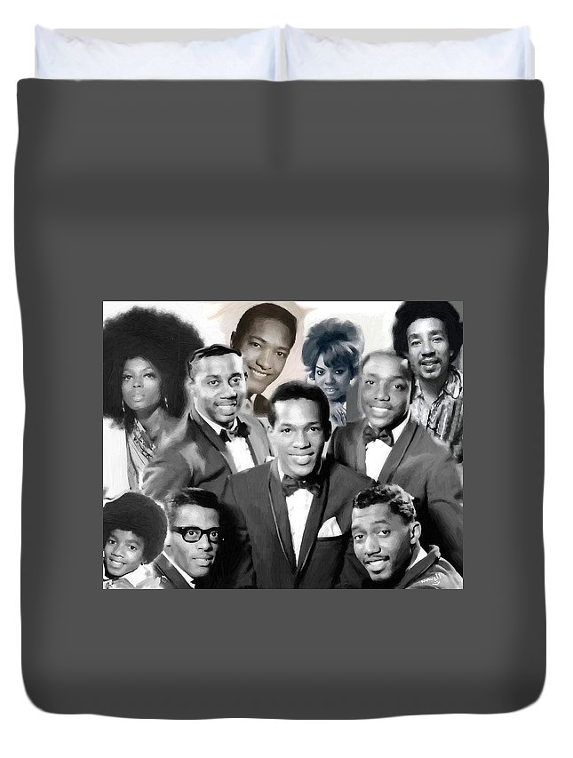 Michael Jackson Smokey Robinson The Temptations Diana Ross Mary Wells Duvet Cover featuring the painting The Faces Of Motown by Peter Nowell