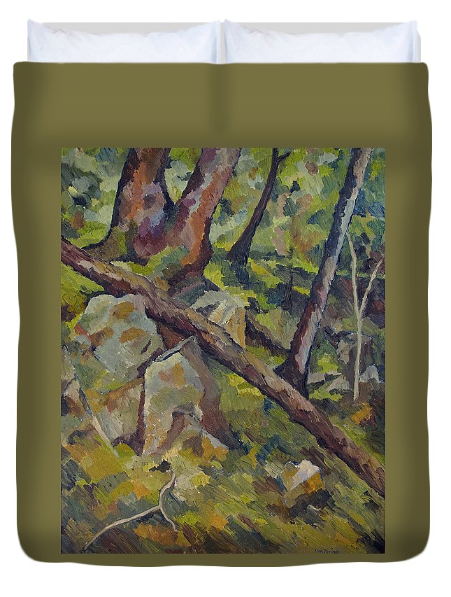 Impressionism Duvet Cover featuring the painting The Fallen Tree by Don Perino