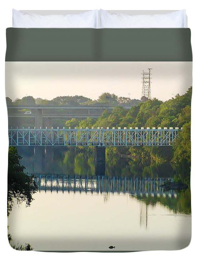 The Duvet Cover featuring the photograph The Falls And Roosevelt Expressway Bridges - Philadelphia by Bill Cannon