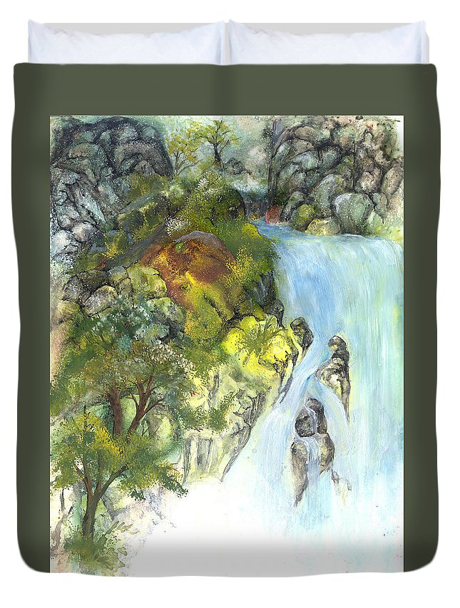Waterfall Duvet Cover featuring the painting The Falls by Sherry Shipley