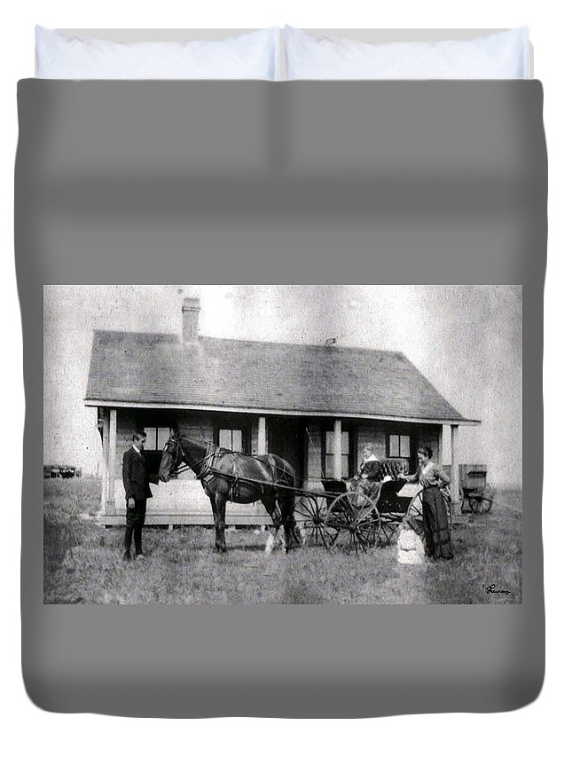 Old Photo Black And White Classic Saskatchewan Pioneers History Horse And Buggy Carriage Duvet Cover featuring the photograph The Family Ride by Andrea Lawrence