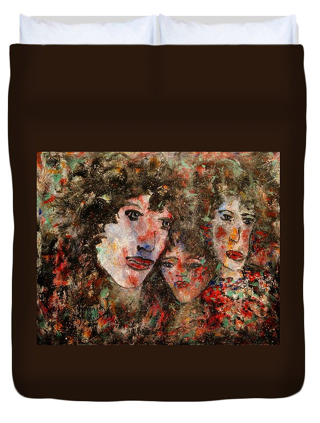 Family Duvet Cover featuring the painting The Family That Plays Together Stays Together by Natalie Holland