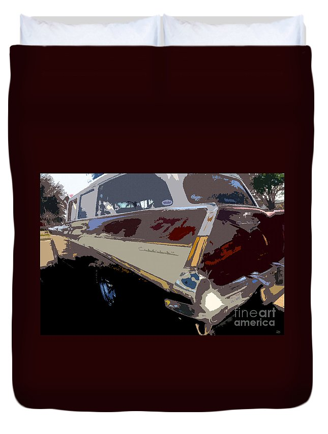 Art Duvet Cover featuring the painting The Family Wagon by David Lee Thompson