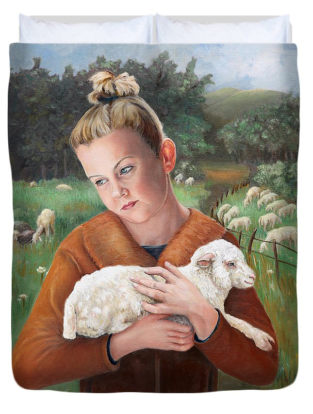 Easter Duvet Cover featuring the painting The Favorite by Portraits By NC