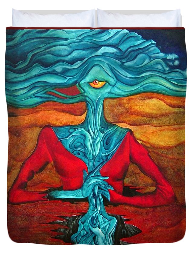 Feast Woman Blue Eye Eat Red Earth Duvet Cover featuring the painting The Feast by Veronica Jackson