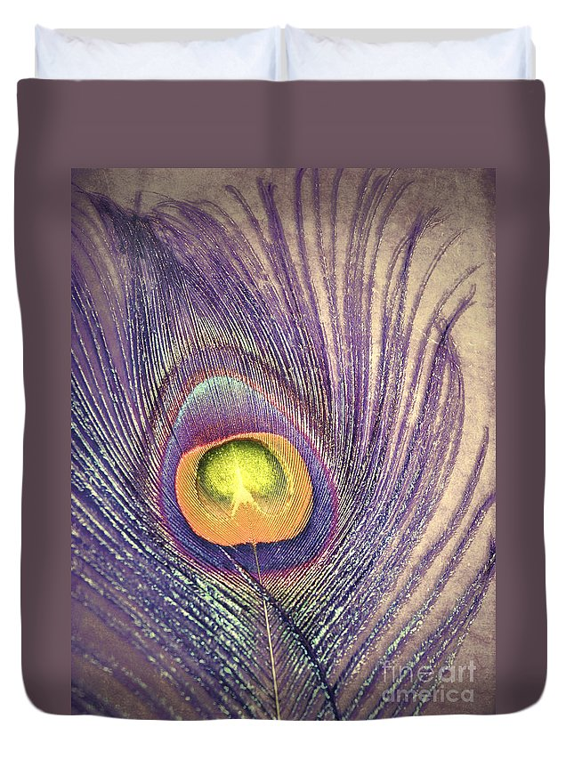 Feather Duvet Cover featuring the photograph The Feather In Colour by Tara Turner