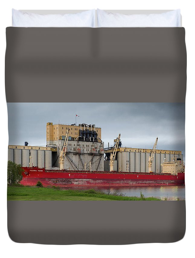 Big Ship Duvet Cover featuring the photograph The Federal Yukon by Linda Ryma
