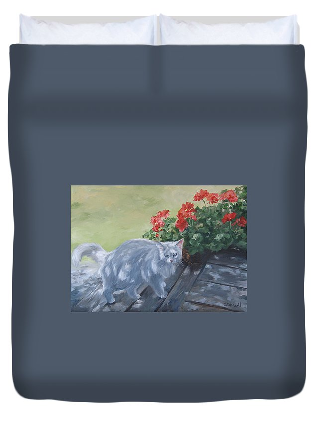 Cat Duvet Cover featuring the painting A Feral Cloud by Connie Schaertl