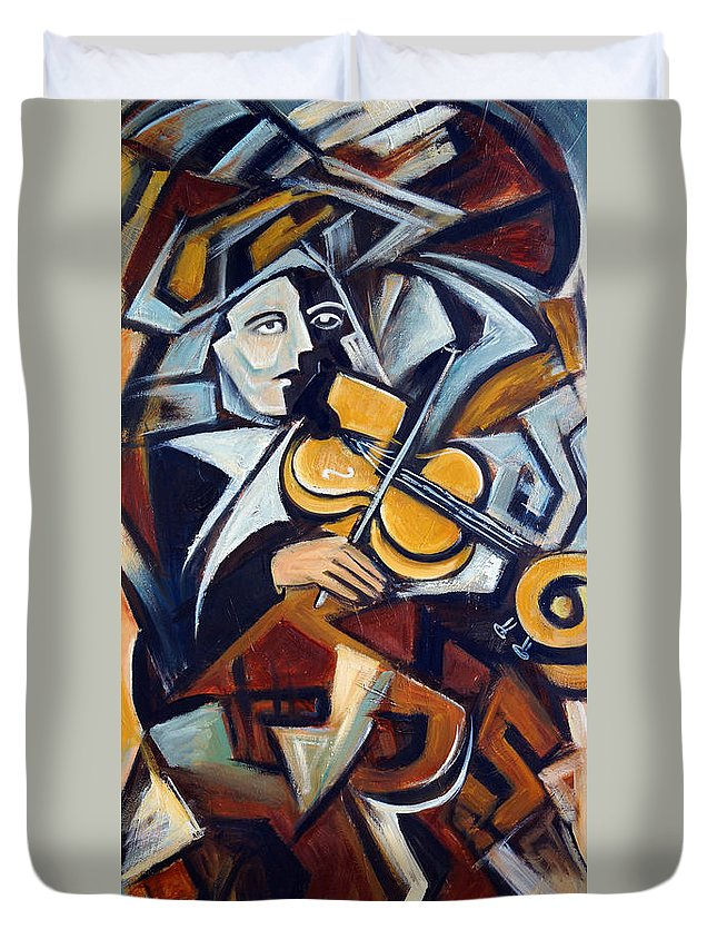 Musician Duvet Cover featuring the painting The Fiddler by Valerie Vescovi