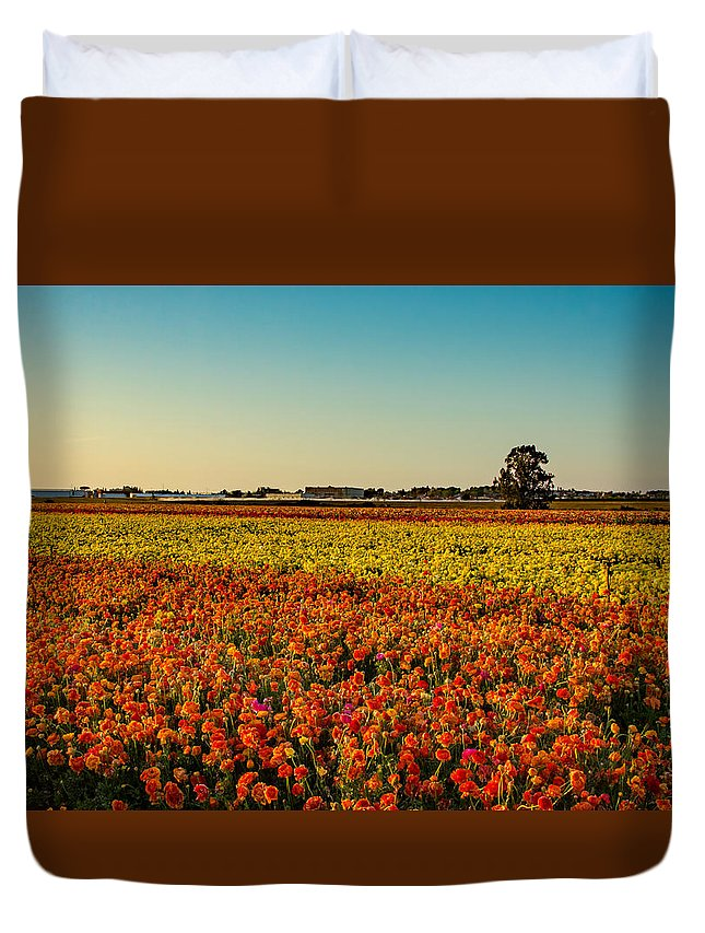 Flowers Duvet Cover featuring the photograph The Field Of Flowers by Mark Perelmuter