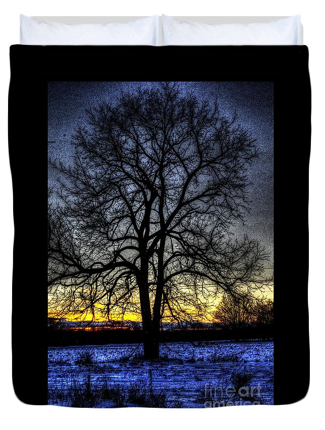Country Duvet Cover featuring the photograph The Field Tree Hdr by September Stone