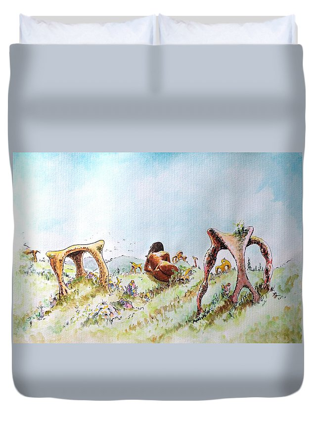 Artemis Duvet Cover featuring the painting The Fields Of Artemis by Dave Martsolf