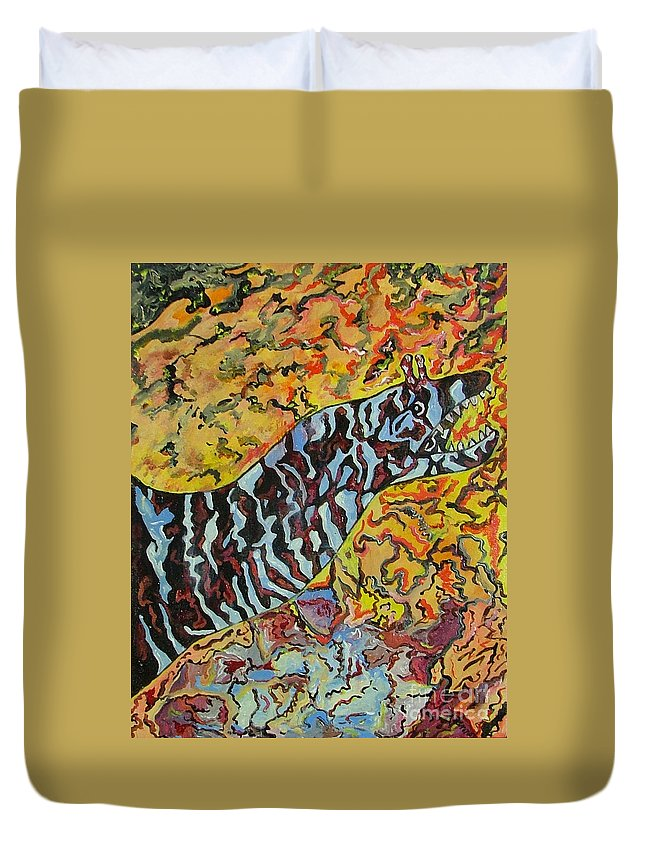 London Aquarium Duvet Cover featuring the painting The Fierce Eel by Heather Lennox