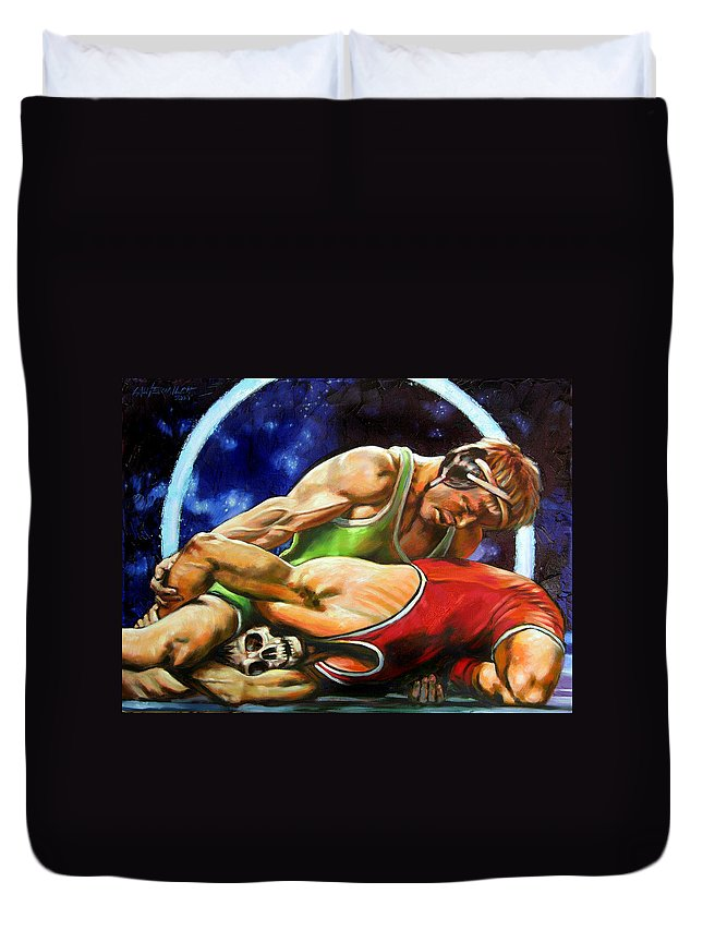 Wrestlers Duvet Cover featuring the painting The Final Fight by John Lautermilch