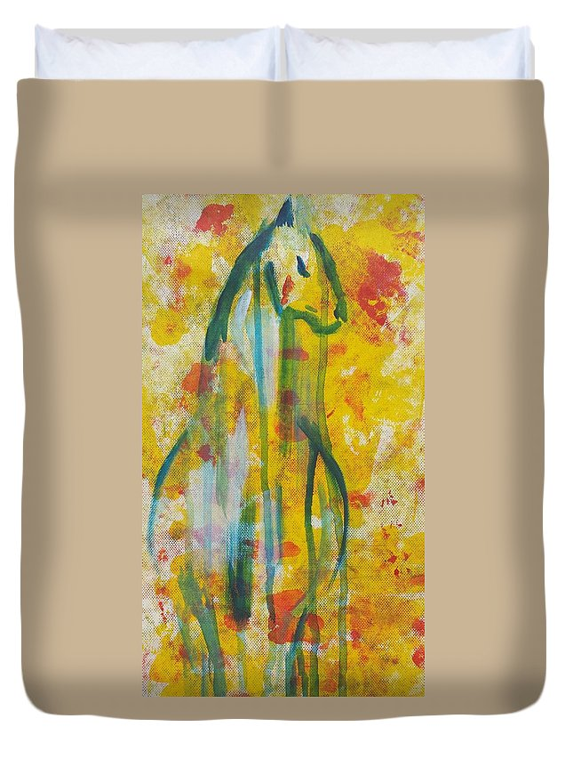 Horse Drips Animal Colours Rainbow Bright Wise Strong Duvet Cover featuring the painting The Final Leg by Victory Peebles