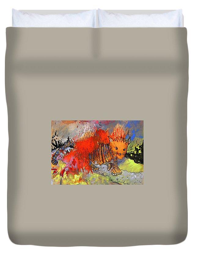 Firecat Duvet Cover featuring the painting The Firecat by Miki De Goodaboom