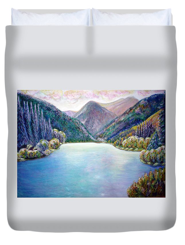Lake Print Duvet Cover featuring the painting The First Frosty Morning At The Lake by Katreen Queen