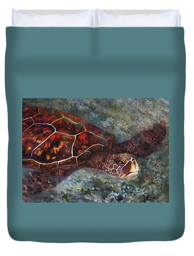 Honu Duvet Cover featuring the painting The First Honu by Kerri Ligatich