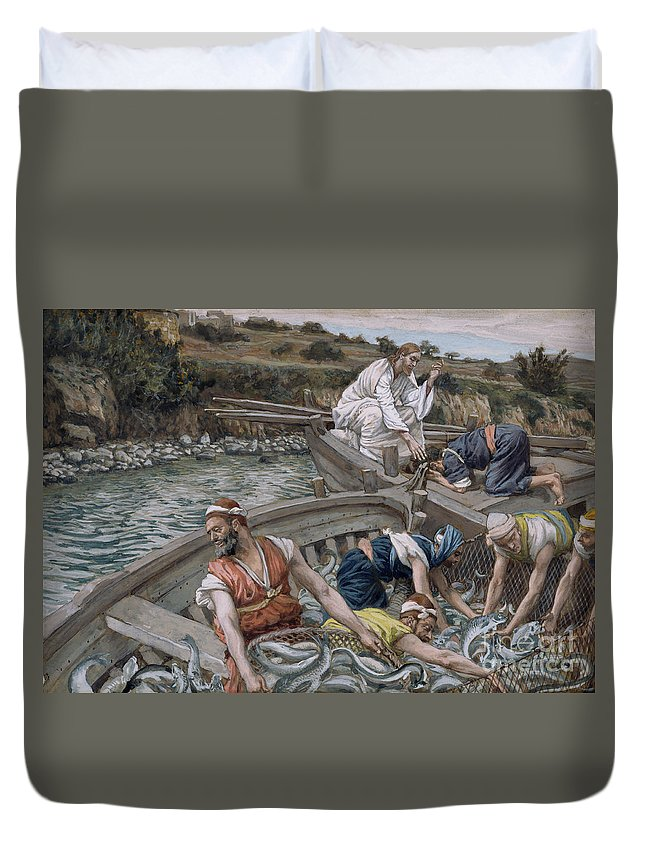 Eel Duvet Cover featuring the painting The First Miraculous Draught Of Fish by Tissot