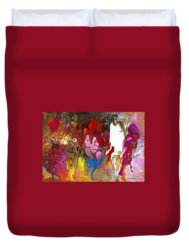 Miki Duvet Cover featuring the painting The First Wedding by Miki De Goodaboom