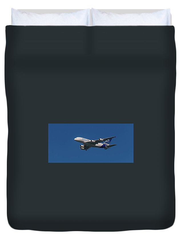 Airbus Duvet Cover featuring the pyrography The Firts Airbus A380 by Javier Flores
