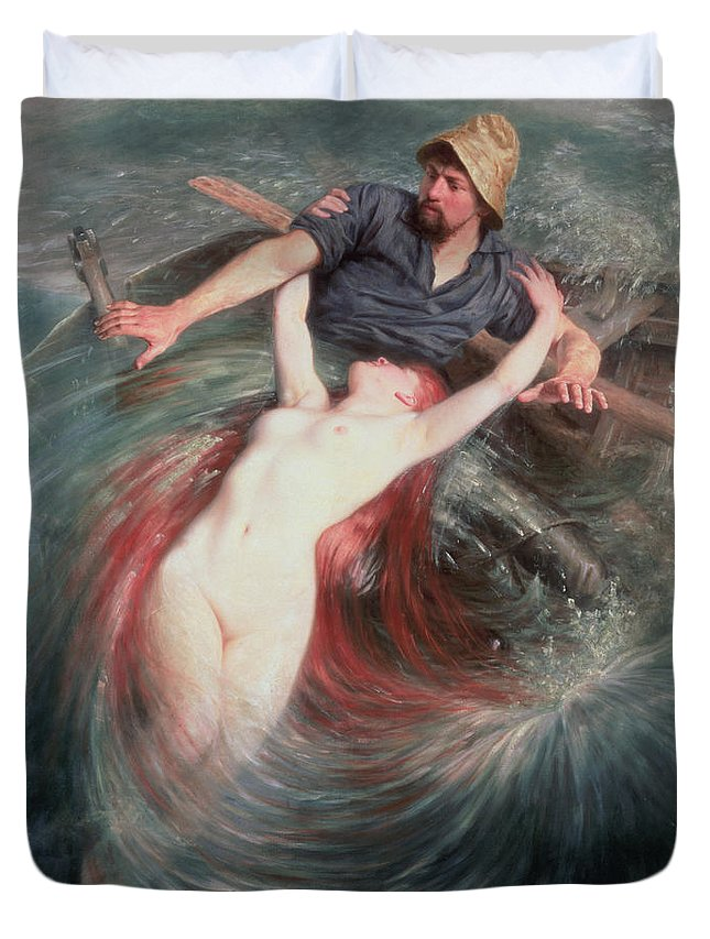 The Duvet Cover featuring the painting The Fisherman And The Siren by Knut Ekvall