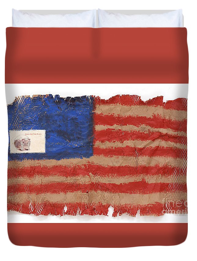 Flag Duvet Cover featuring the mixed media The Flag by Jaime Becker