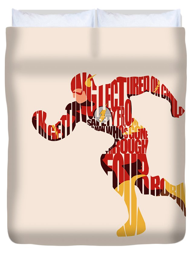 Flash Duvet Cover featuring the digital art The Flash by Inspirowl Design