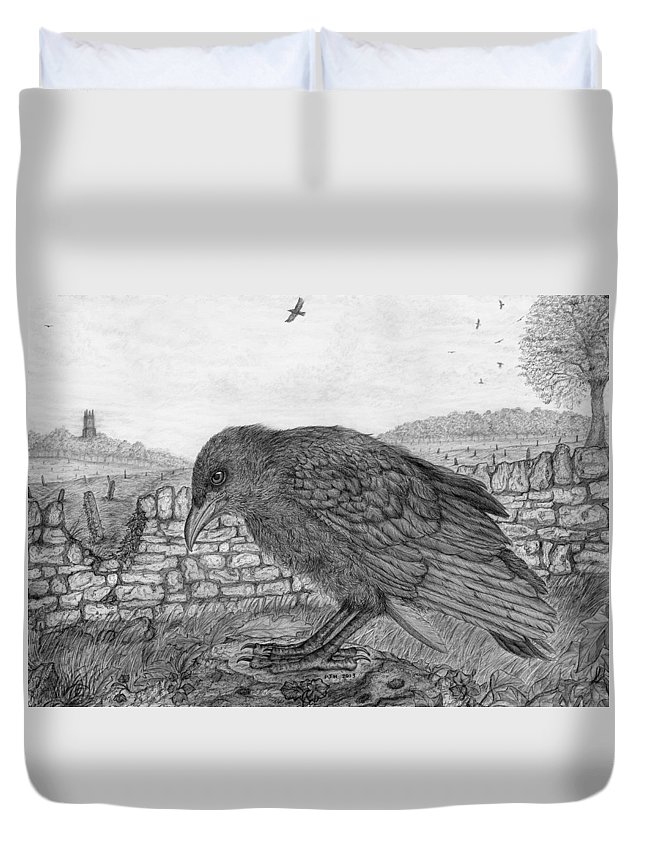 Crow Duvet Cover featuring the drawing The Fledgling by Philip Harvey