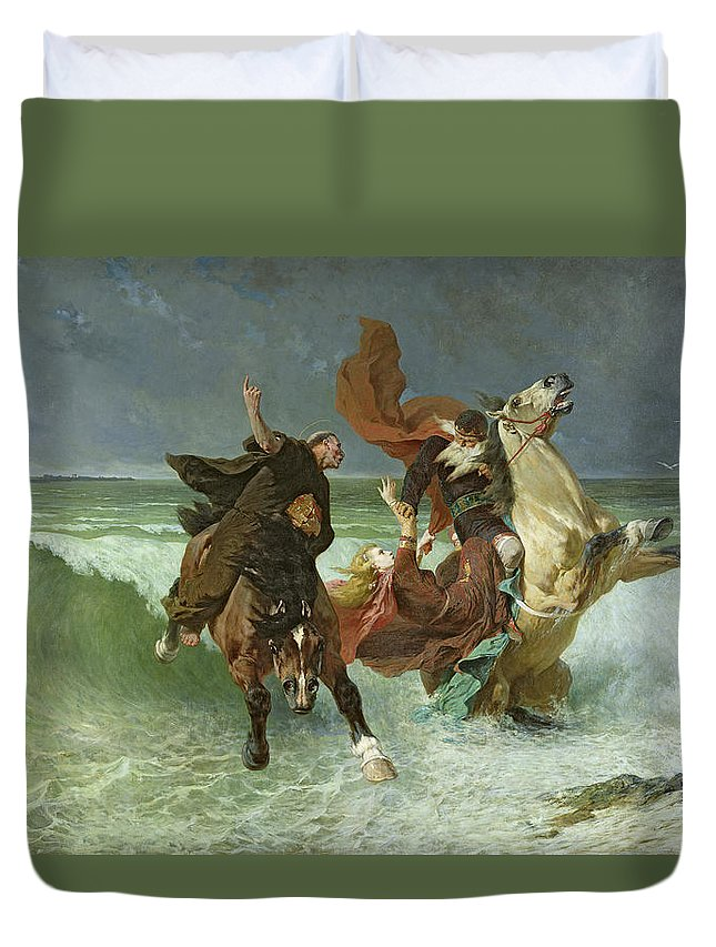 The Duvet Cover featuring the painting The Flight Of Gradlon Mawr by Evariste Vital Luminais