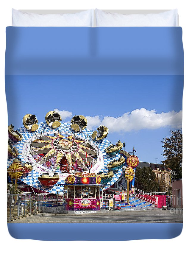 Amusement Park Duvet Cover featuring the photograph The Flipper At The Prater by Madeline Ellis