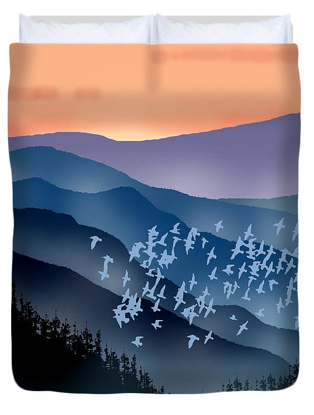 Birds Duvet Cover featuring the painting The Flock by Paul Sachtleben