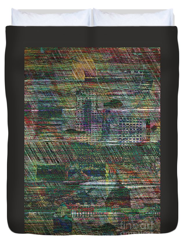 Noah Duvet Cover featuring the digital art The Flood by Andy Mercer