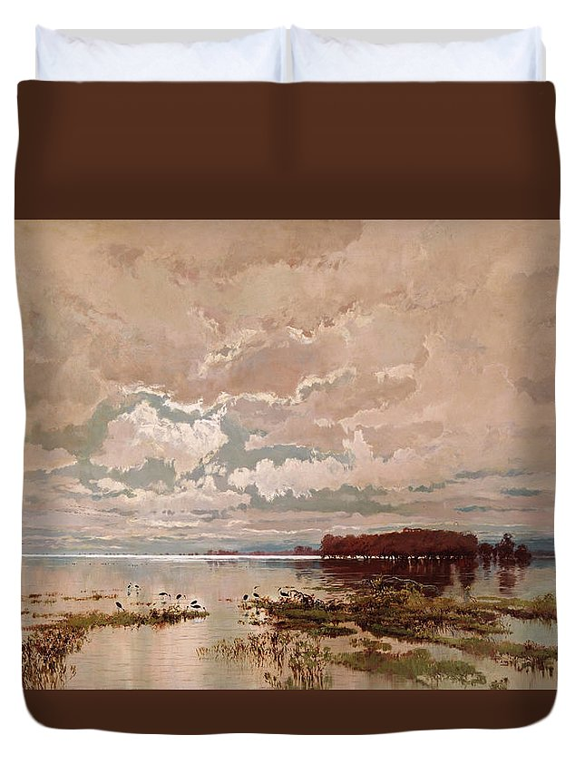 William Charles Piguenit Duvet Cover featuring the painting The Flood In The Darling 1890 by William Charles Piguenit