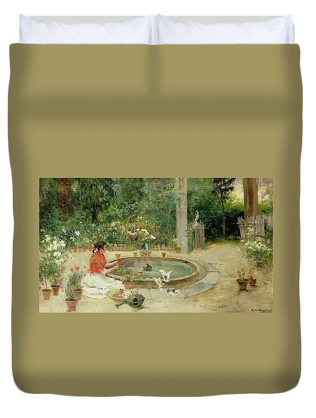 The Flower Garden Duvet Cover featuring the painting The Flower Garden by Richardo Brugada y Panizo