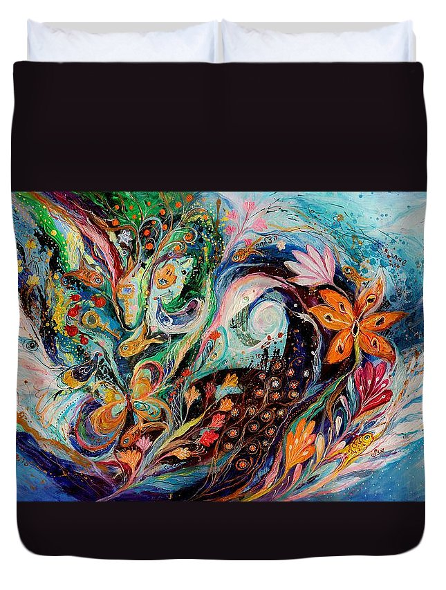 Modern Jewish Art Duvet Cover featuring the painting The Flowers And Sea by Elena Kotliarker