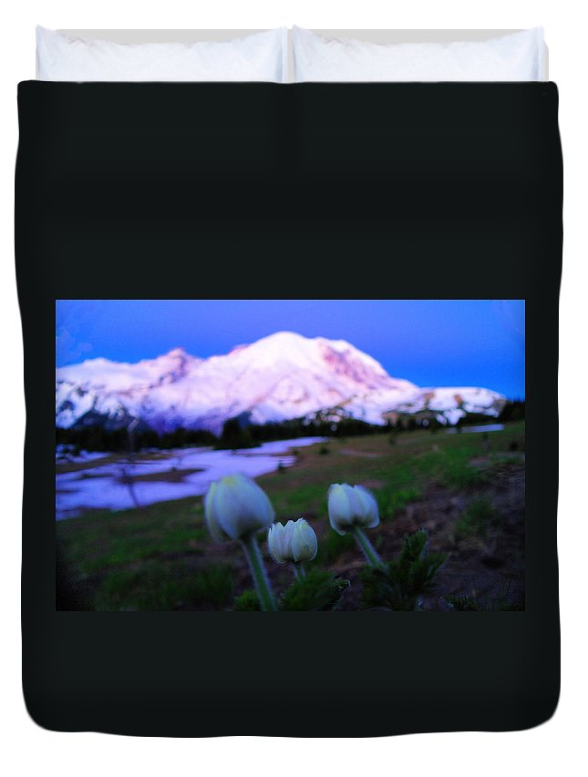 Mount Rainier National Park Duvet Cover featuring the photograph The Flowers Of Sunrise by Jeff Swan