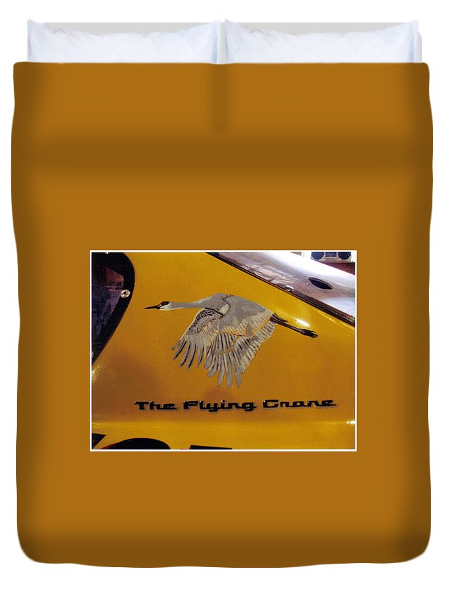 Nascar Duvet Cover featuring the painting The Flying Crane by Richard Le Page
