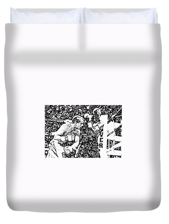 Prize Fighting.boxing Duvet Cover featuring the photograph The Follow Through by David Lee Thompson