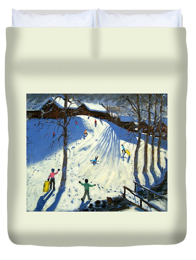 Sledging Duvet Cover featuring the painting The Footbridge by Andrew Macara
