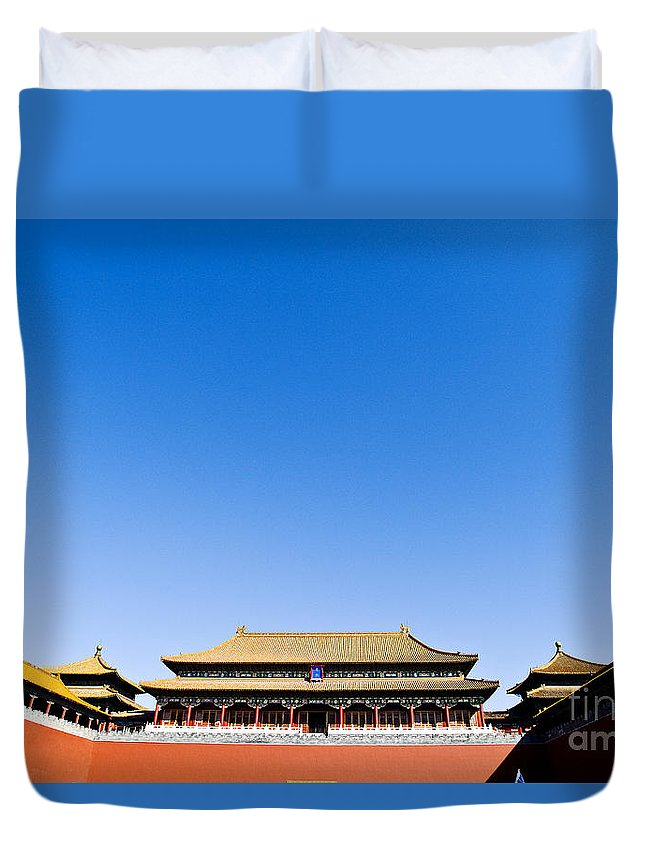 Architectural Art Duvet Cover featuring the photograph The Forbidden City by Ray Laskowitz - Printscapes