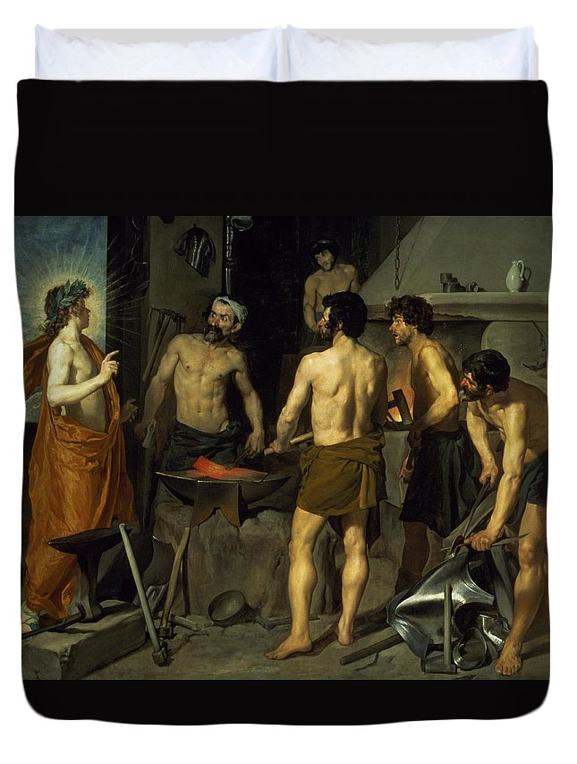 The Forge Of Vulcan Duvet Cover featuring the painting The Forge Of Vulcan by Diego Velazquez
