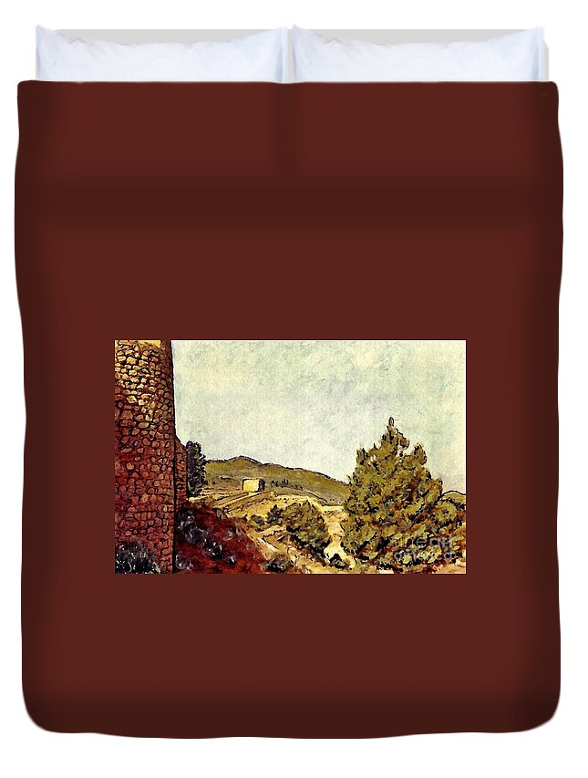 Fort Duvet Cover featuring the mixed media The Fort In Lorca by Sarah Loft