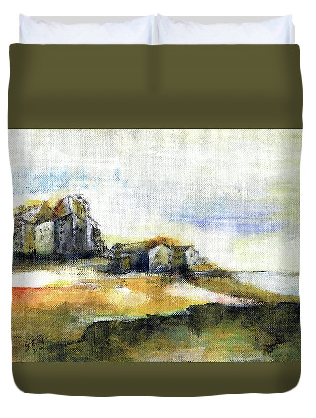Abstract Landscape Duvet Cover featuring the painting The Fortress by Aniko Hencz