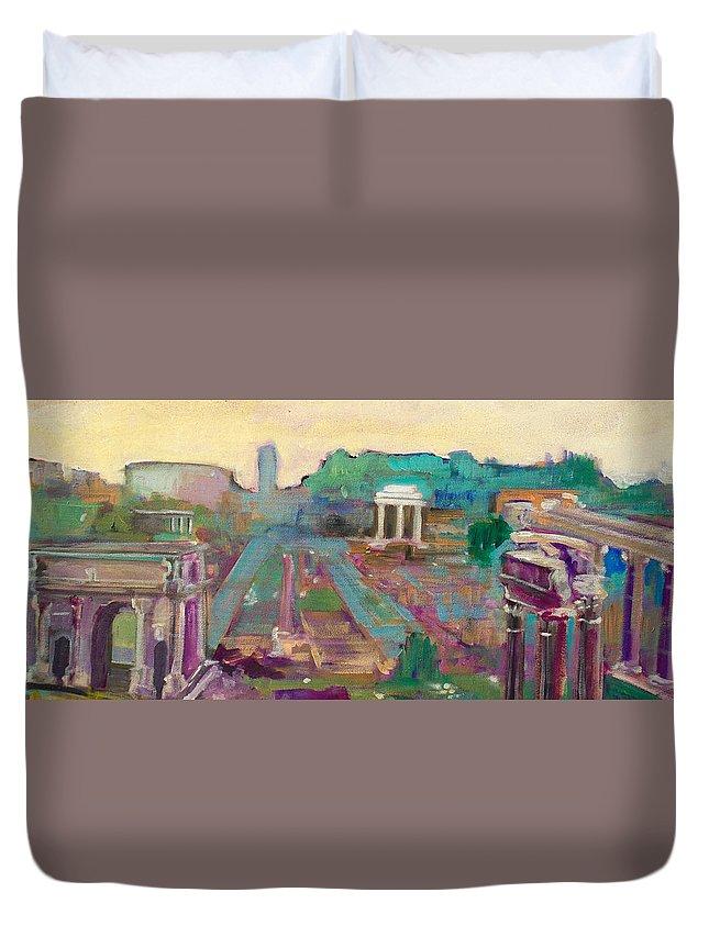 Rome Duvet Cover featuring the painting The Forum Romanum by Kurt Hausmann