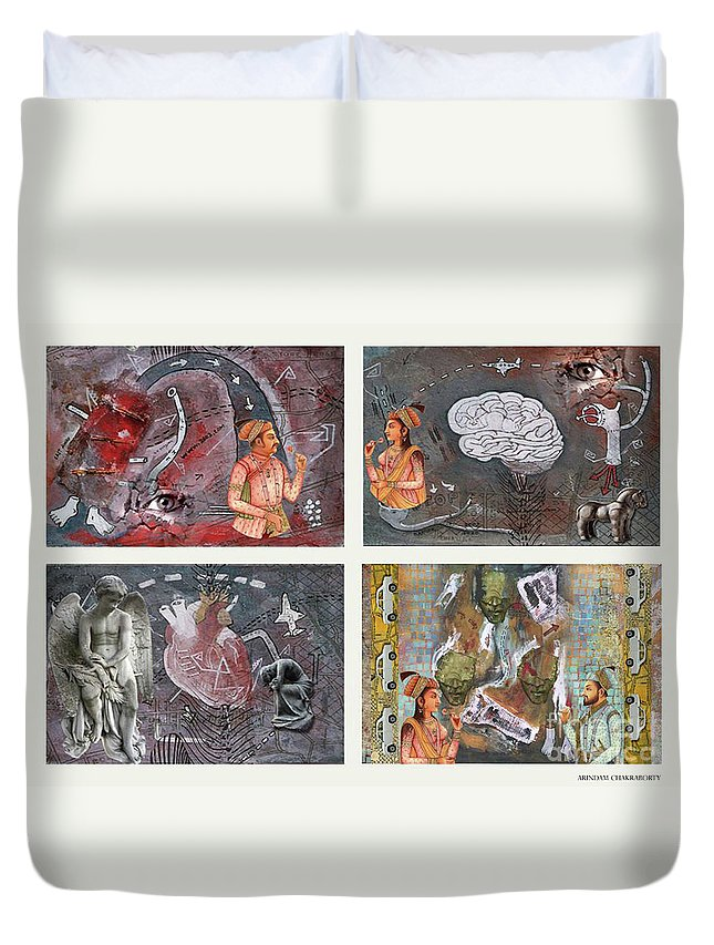 The Four Duvet Cover featuring the digital art The Four by Arindam Chakraborty