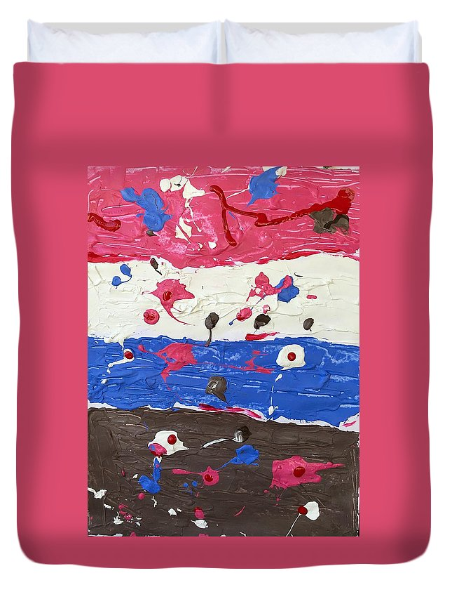 Abstract Duvet Cover featuring the painting The Four Elements by Moises Brador