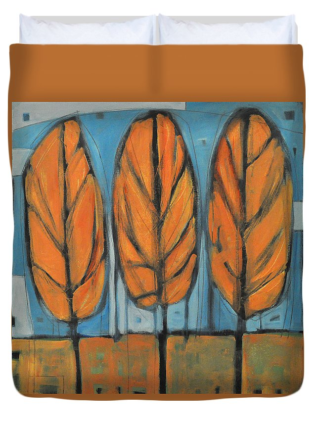 Trees Duvet Cover featuring the painting The Four Seasons - Fall by Tim Nyberg